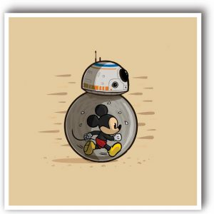 Decorative art print star wars disney and bb8