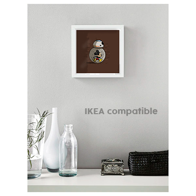 Decorative art print star wars disney and bb8 brown frame